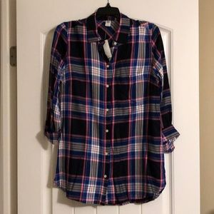 NWT Old Navy Plaid Tunic Button down